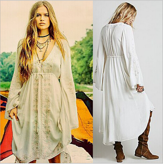 8875ad770a Summer Hippie Bell Sleeve Dress Free femininos People white Embroidery  Vintage High Low Long dresses women Boho people-in Dresses from Women's  Clothing on ...
