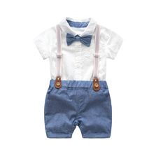 Baby Boys Bow Formal Romper Clothes Suits Gentleman Party Suit Soft Cotton Solid Jumpsuit + Suspender Pants Infant Toddler Set