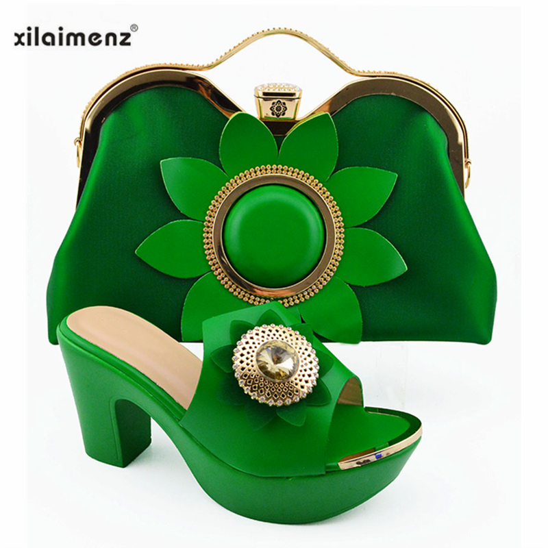 Green Color Hot Selling Italian Shoes And Bag Set High Heels African Design Shoes With Matching