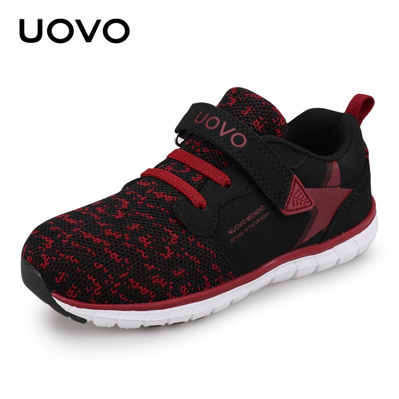 все цены на New Uovo Brand Children's Sports Shoes Zapatillas para ninos Running Kids Shoe Girls Boys Sneakers Spring Autumn EU25-38 Red онлайн