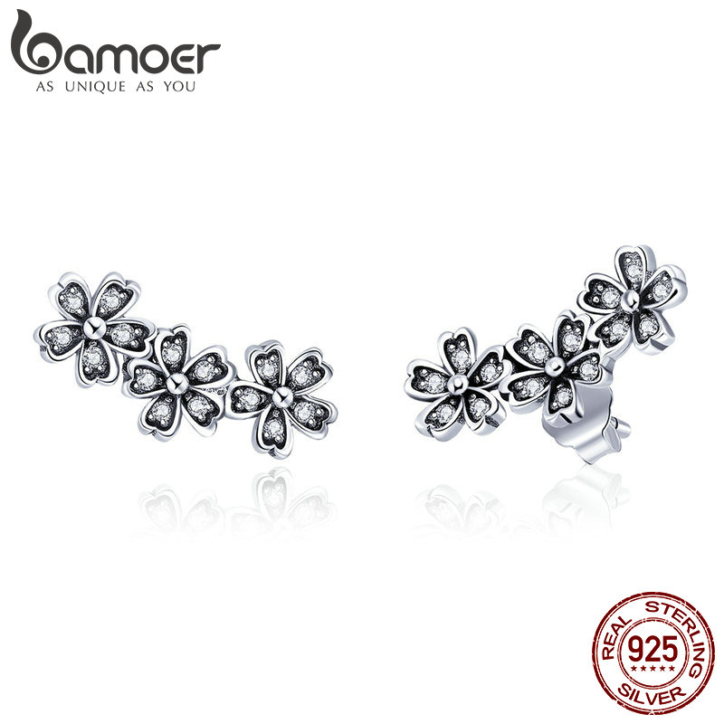 BAMOER Fashion 925 Sterling Silver Stackable Daisy Flower Clear CZ Stud Earrings for Women Sterling Silver Jewelry Gift SCE419 bamoer original 925 sterling silver dazzling daisy flower stud earrings for women jewelry pas434