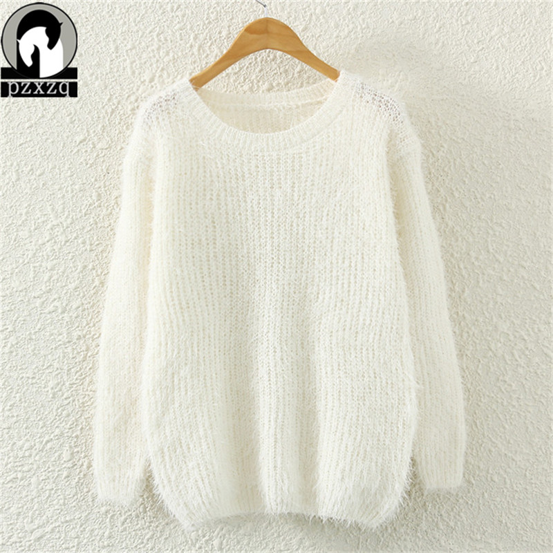 2019 Spring Winter Cashmere Sweater Women Fashion Sexy O-neck Sweater Loose Fluffy Wool Women Sweaters And Pullovers