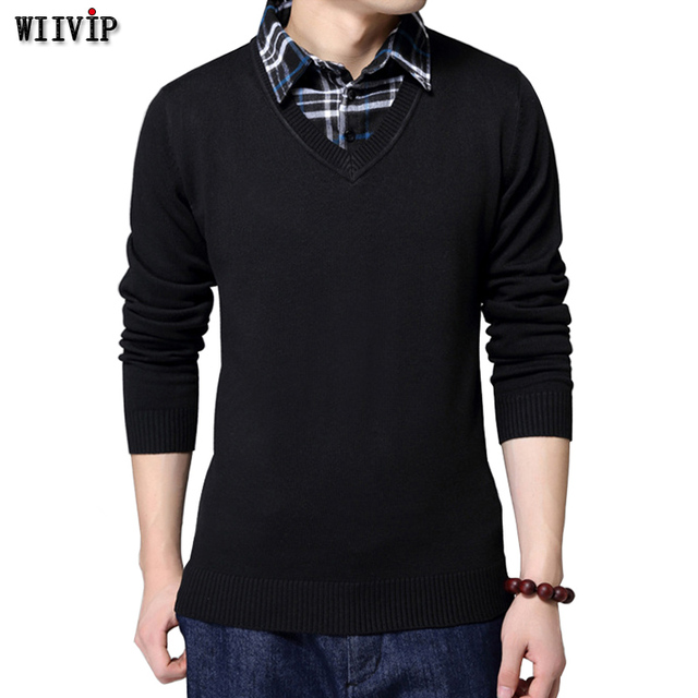 de362f56e7401 New winter 2017 Men sweater Fake two pieces pullover men cotton sweater  Slim Fit men polo sweaters casual Knitted yw052