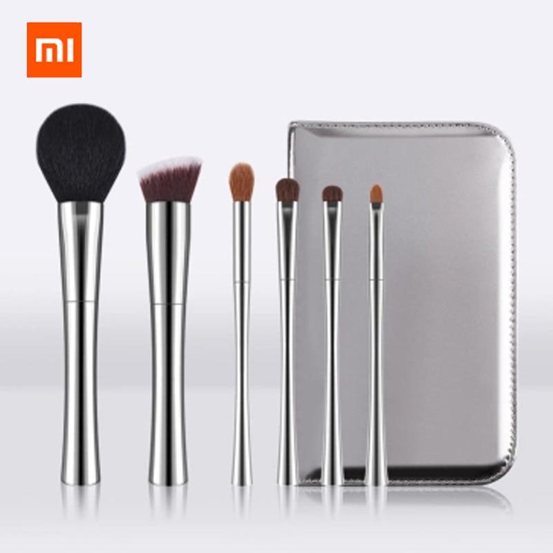 Original xiaomi mijia DUcare exquisite high end makeup brush 6 sets of man made fiber PU soft makeup brush set