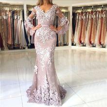 Женское вечернее платье русалка розовое кружевное с длинными