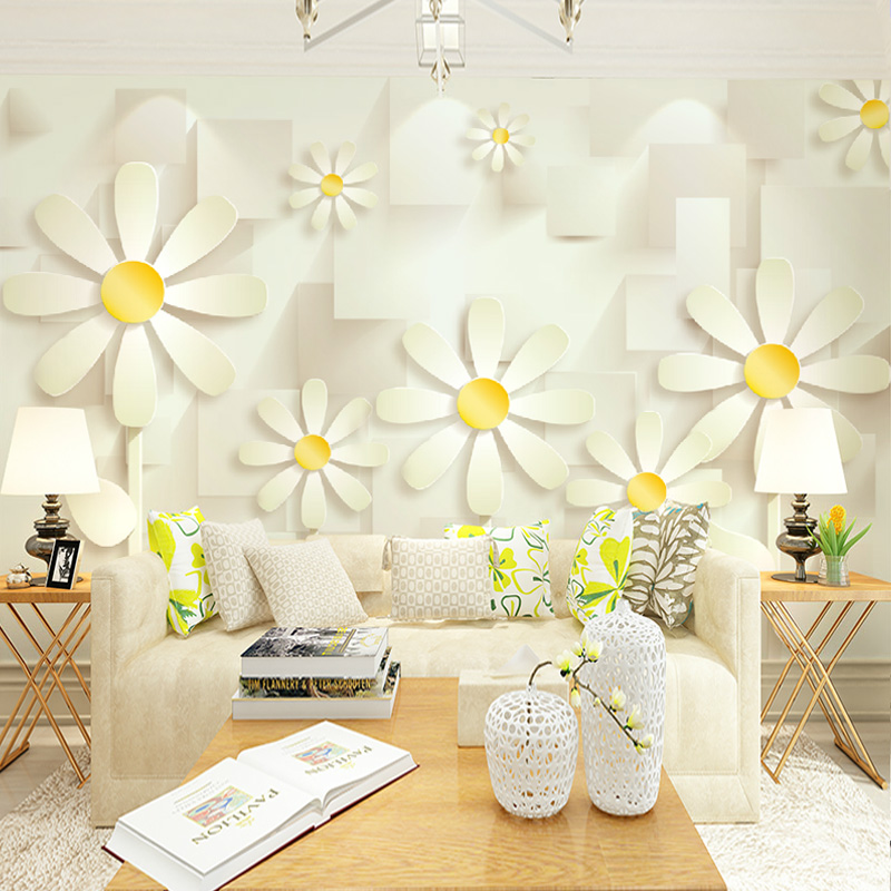 Free Shipping modern living room TV sofa background wall summer fresh Daisy 3D stereo warm bedroom mural wallpaper