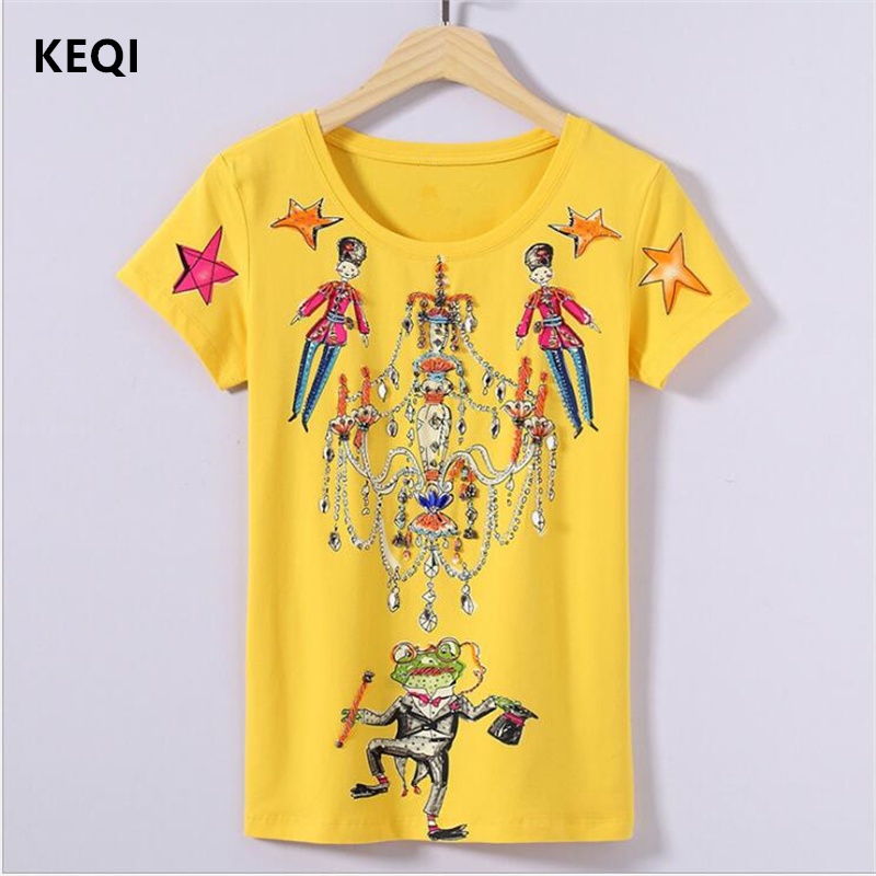 Keqi 2017 high quality brand t shirt women slim diamonds for Best quality shirts to print on