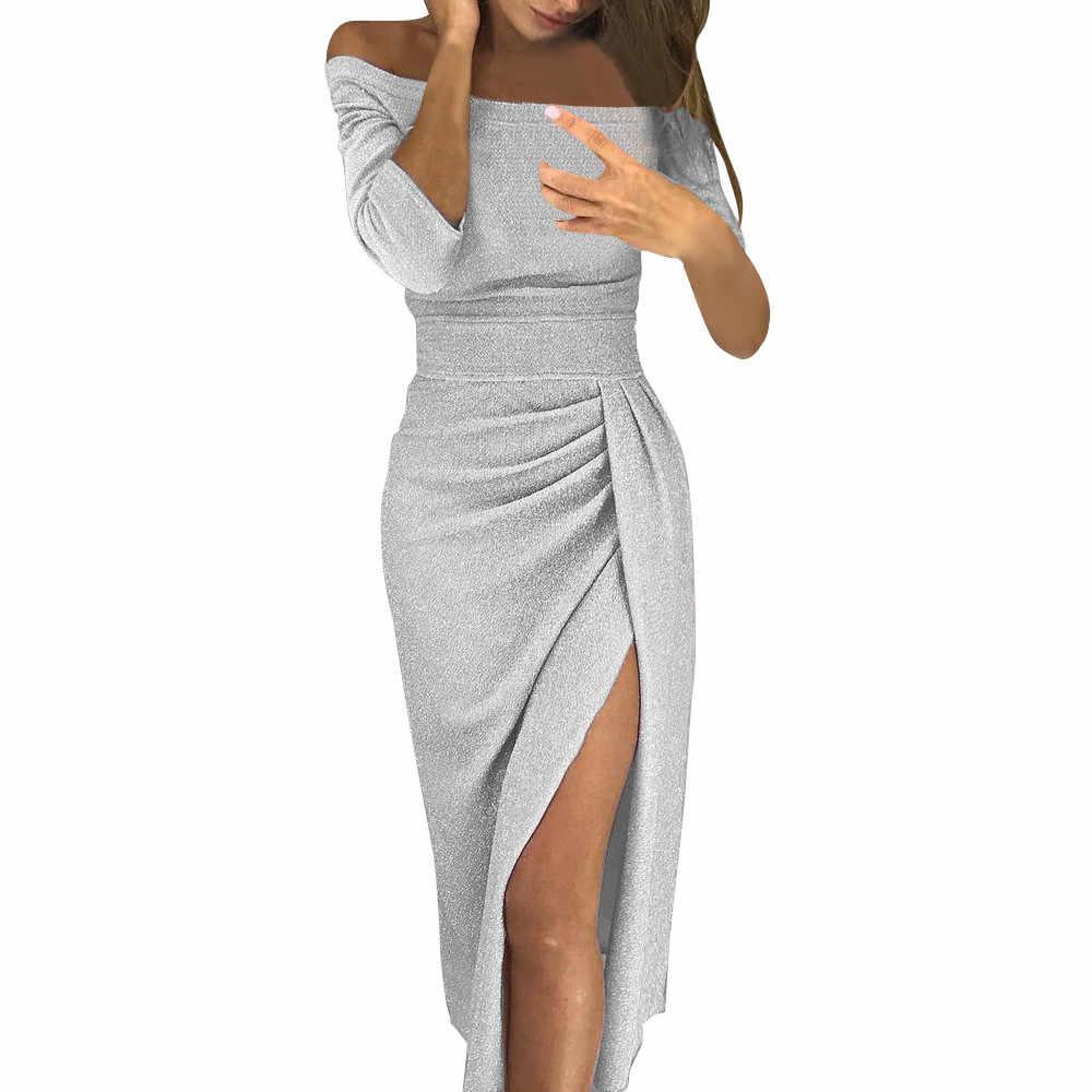 5336f37e71 Winter Party Dress Women Clothes 2019 Off Shoulder Dresses Woman Party  Night Three Quarter Sleeve Bandage Dress