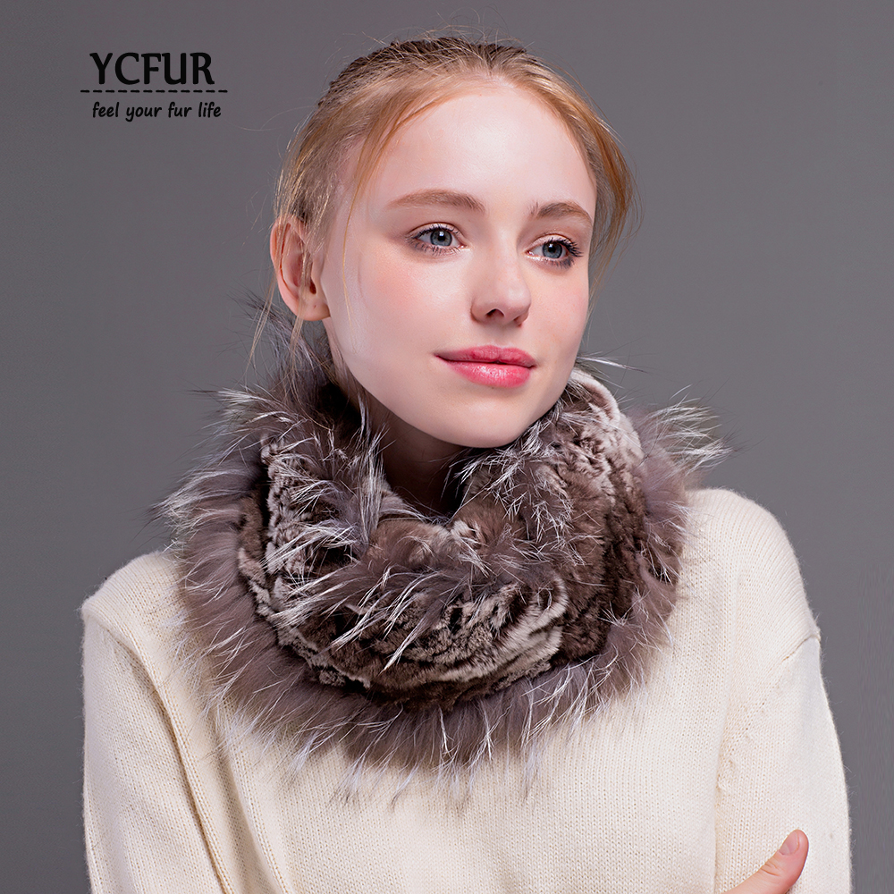 [YCFUR] Women Ring   Scarf   Winter Knitted Real Rex Rabbit Fur   Scarves     Wraps   Female Winter Neck Warmer   Scarf   Ladies