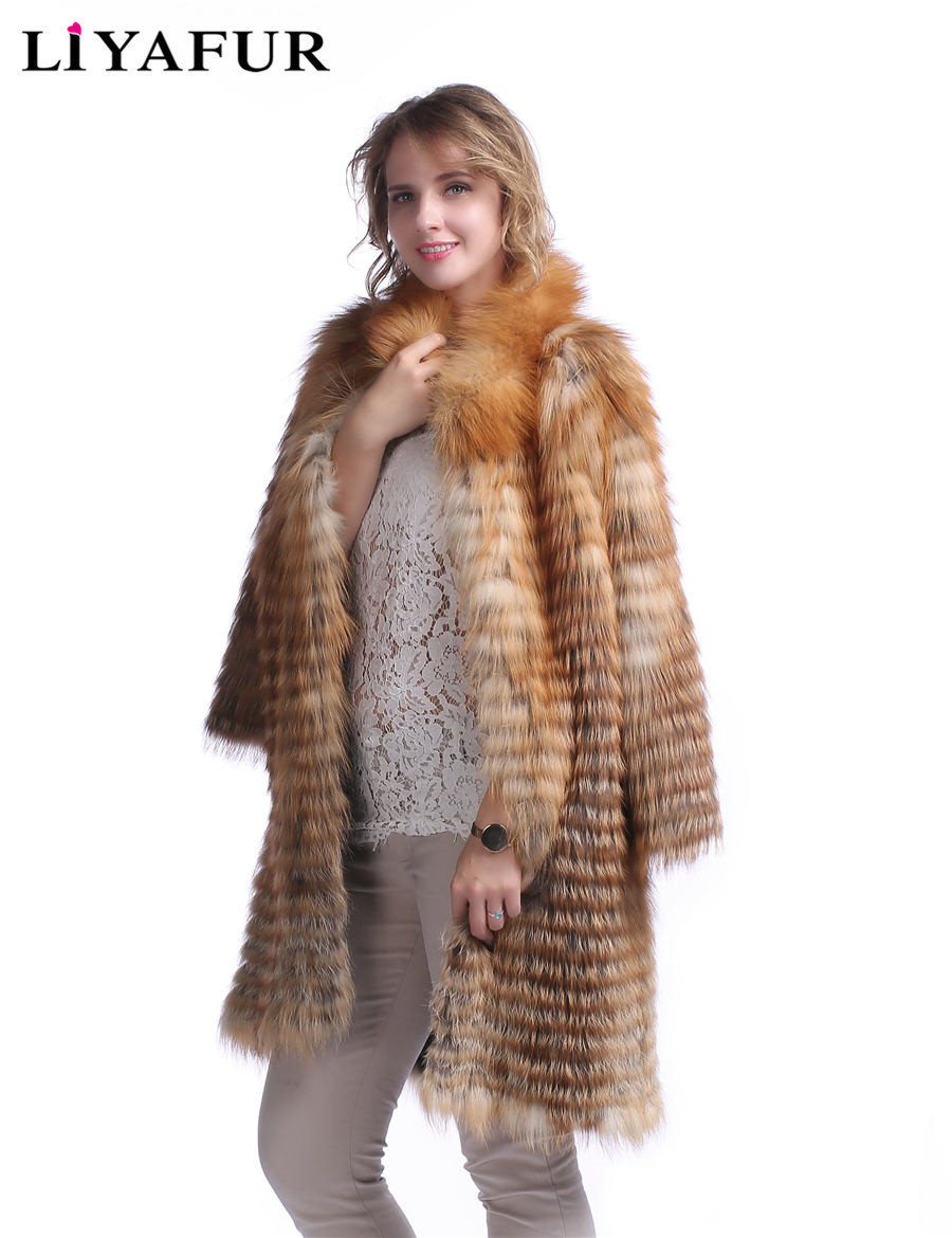 5a8e3daca Brand Red Fox Fur Jacket Withhood Men Man Size · Liyafur Style Real Genuine  Red