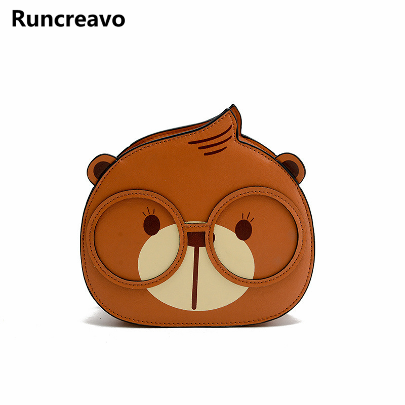 2018 new Korean style spectacle bear pu leather handbag hit color circle chain shoulder messenger bag for womens bolsa feminina