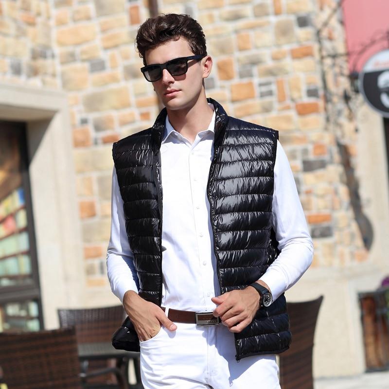 AIRGRACIAS 2018 Yeni Kişi Vest Warm Ultralight Aşağı Aşağı gödəkçələr Kişilər İncə Qış Vest Kişi yüngül paltolar Doudoune Homme