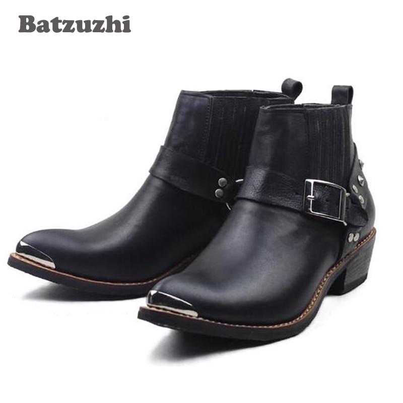 100% cuero genuino de la vaca botas tobillo Punk de combate militar vestido de los hombres botas de vaquero occidental botas de motocicleta de tapa de Metal hebilla