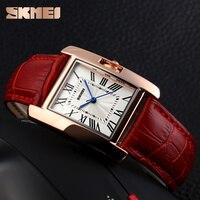SKMEI Women Quartz Watches Luxury Fashion Casual Watch Leather Strap RoseGold Lady Dress Montre Girls Relogio