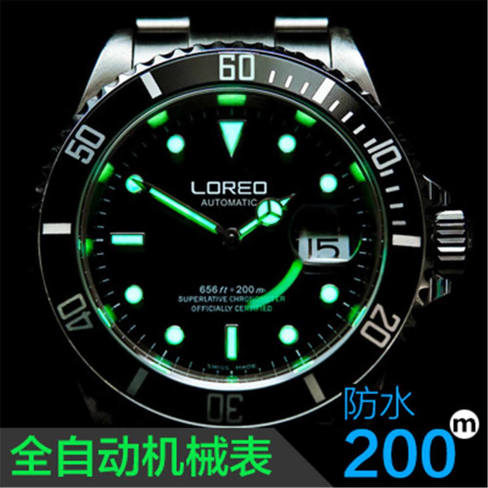 คุณภาพสูง LOREO นาฬิกาผู้ชายผู้ชาย Luxury Sapphire 200 M กันน้ำทหารนาฬิกาผู้ชาย Automatic Mechanical นาฬิกาข้อมือ