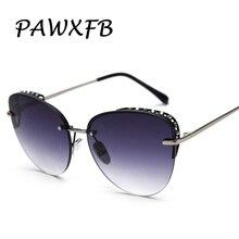 PAWXFB 2019 Luxury Gradient Sunglasses Cat Eye Shades For Women Fashion Brand Designer Rimless Diamond Ladies Eyewear