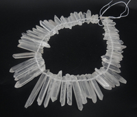 Gift Idea Long Clear Raw Crystal Quartz Point Pendant Beads Matte Clear Crystal Tusk Pendant Jewelry