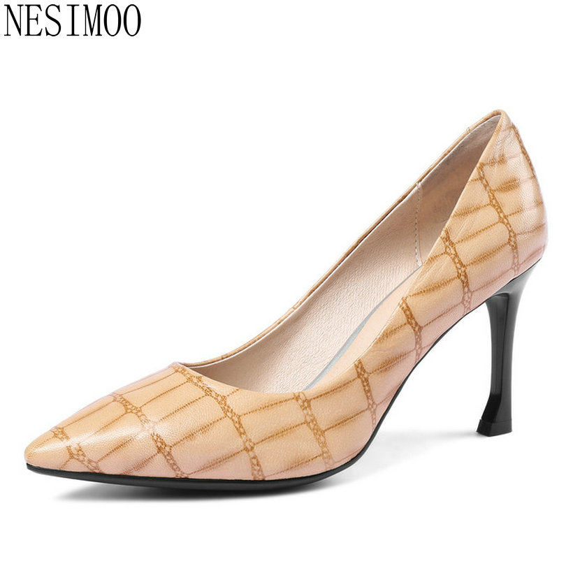 NESIMOO 2018 Women Pumps Wedding Shoes Fashion Thin High Heel Pointed Toe Cow Leather+pu All Match Ladies Pumps Size 34-43