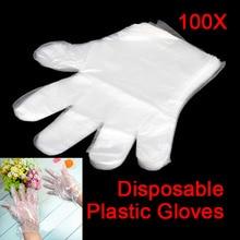 100 одноразовые ПЭ-перчатки варежки для сада дома ресторана барбекю Посуда мыть QJ888