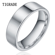 TIGRADE Flat 8mm High Polished Pure Tungsten Carbide Ring Women Men Wedding Engagement Band Fashion Jewelry Comfort Fit