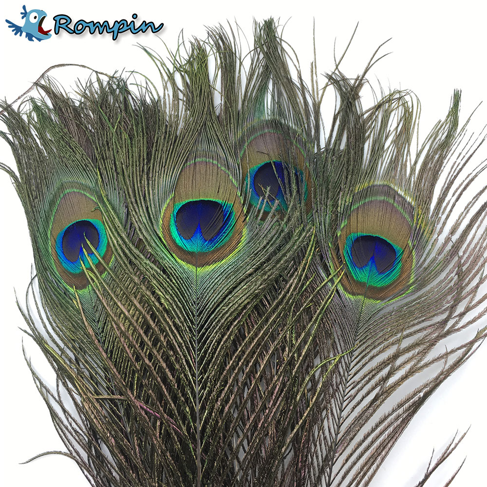 Rompin 10pcs Natural Peacock Tail Eye Hair for Fly Tying Streamer Flies Olive Peacock Feather Fly Fishing Lure Bait DIY Material free shipping fishing float damocles buoy peacock feather buoy haneda 835 14 peacock hard fishing tackle