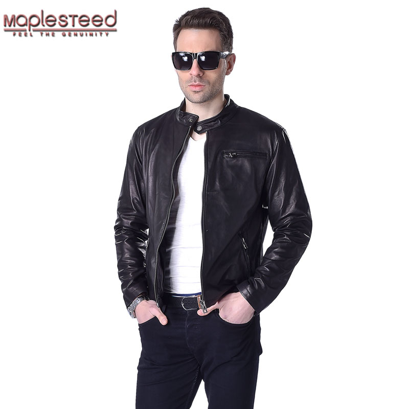 MAPLESTEED Men Leather Jacket 100% Real Goat Skin Fashion Brand Black Short Soft Men's Genuine Leather Coat Spring Autumn M130