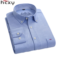 HCXY Plus Size Cotton Brand Shirt Men Long Sleeve High Quality Spring Mens Casual Shirts Oxford