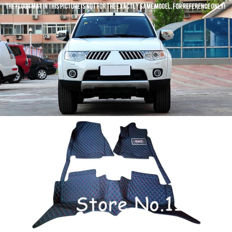 все цены на Accessories  For 2011-2017 Mitsubishi Pajero Sport / Montero Sport 7 Seats Interior Black Leather Foot Floor Mat & Carpets онлайн