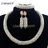 Nigerian Statement Necklace Wedding African Beads Jewelry Set Crystal Jewelry Set African Costume Jewelry Sets Beads