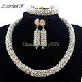 Nigerian Statement Necklace Wedding African Beads Jewelry Set Crystal Jewelry Set African Costume Jewelry Sets Beads L1003