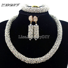 Nigerian Statement Necklace Wedding African Beads Jewelry Set Crystal Jewelry Set African Costume Jewelry Sets Beads HD7453 2017 new design handmade coral beads statement necklace set nigerian wedding african beads lace jewelry set free shipping abk849
