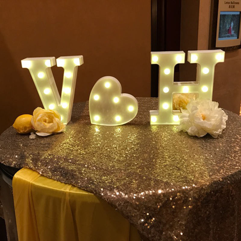 26 Buchstaben Weißen LED Nachtlicht Festzelt Zeichen Alphabet Lampe Für Geburtstag Hochzeit Schlafzimmer Wand Hängende Dekoration