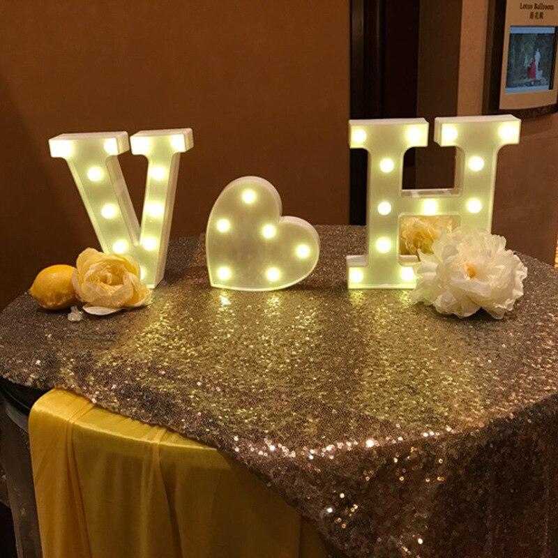 26 letras LED blanco luz nocturna marquesina signo alfabeto lámpara para cumpleaños boda fiesta dormitorio pared decoración colgante