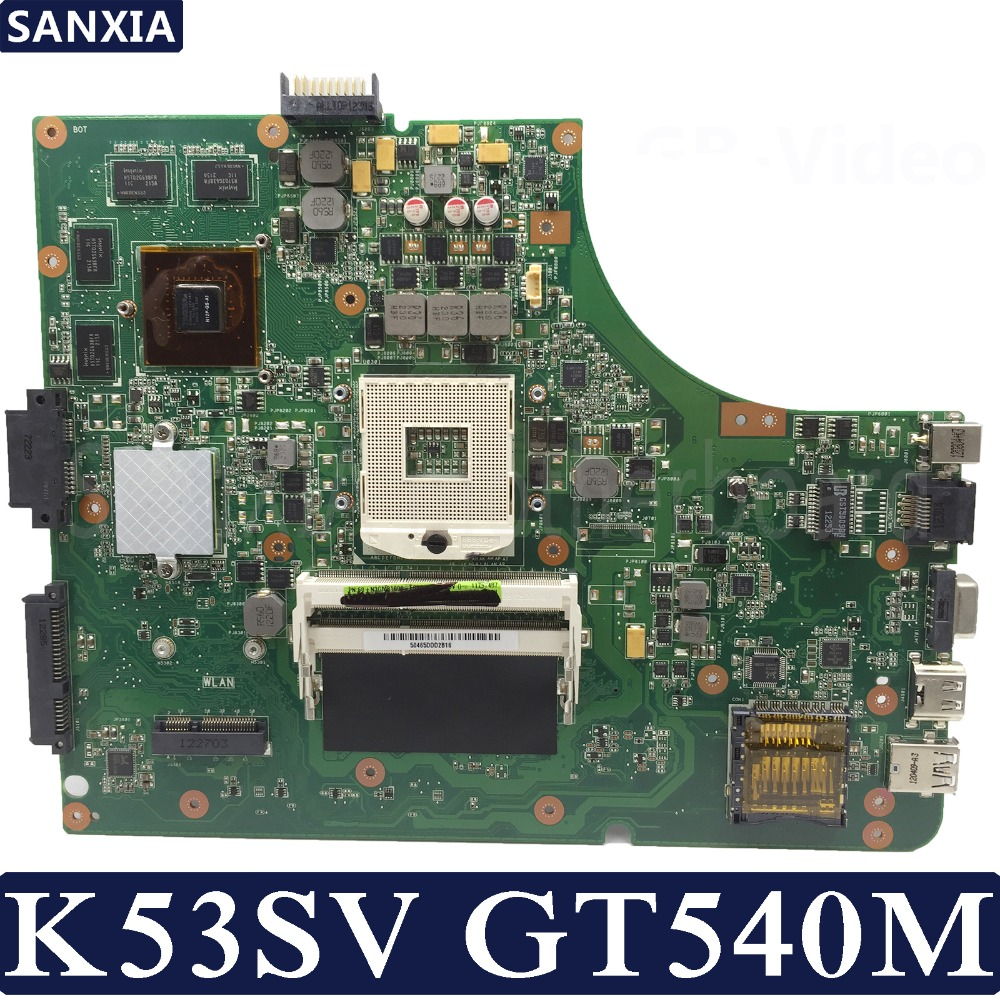 KEFU K53SV Laptop Motherboard For ASUS K53SM K53SC K53SJ P53SJ A53SJ Original Mainboard REV2.1/2.4/3.0/3.1 GT540M