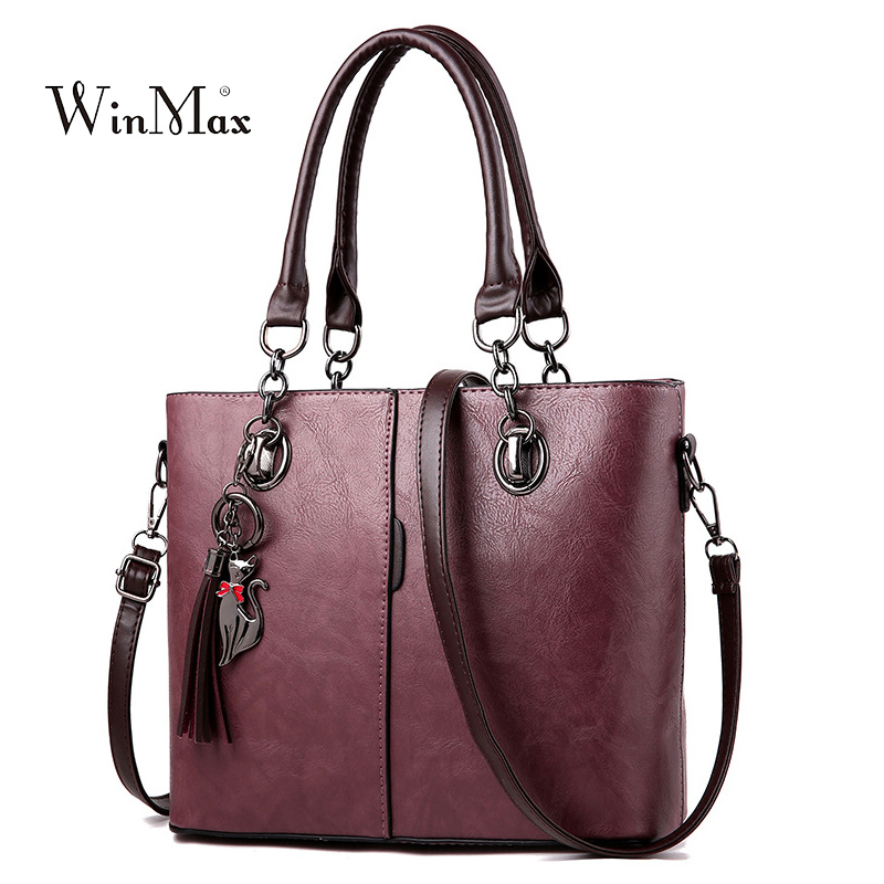 Women Leather Handbag Vintage Shoulder Bag Female Casual Tote Bags High Quality Lady Designer Handbags sac a main Bolsa Feminina aitesen tote leather bag luxury handbags women messenger bags designer sac a main mochila bolsa feminina kors louis bags
