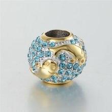 Golden Fish Crystal Beads Fit Pandora Charms Pulsera Plata 925 Original Nuevo DIY 925 Cuentas de Plata Esterlina para La Joyería Que Hace