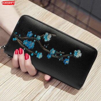 Hakiki deri kadın uzun cüzdan moda fermuar el çantası kelepçe kart tutucu çiçekler cüzdan cep telefonu el çantası çantalar