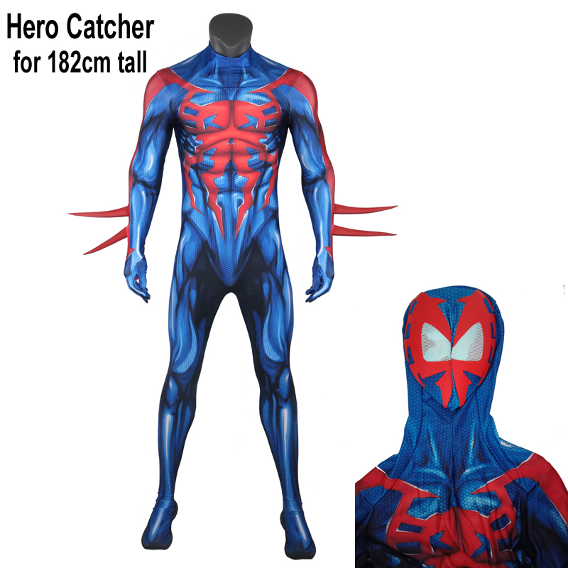 Hero Catcher High Quality for 182cm tall Muscle Shade Spiderman 2099 Costume With Mirror Lens Spider Man 2099 Fullbody Suit