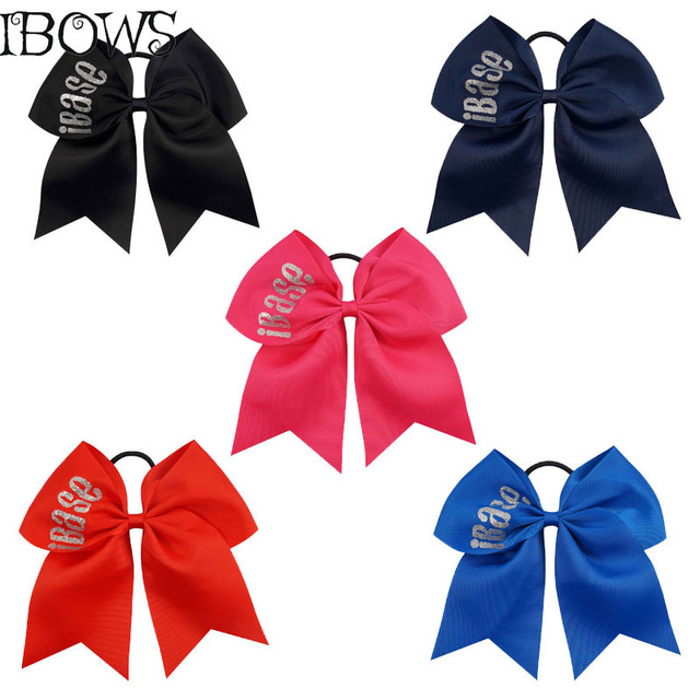 7 Glitter Cheer Bows IBase Letter Sparkly Printed Ribbon Hair With Ponytail Holder