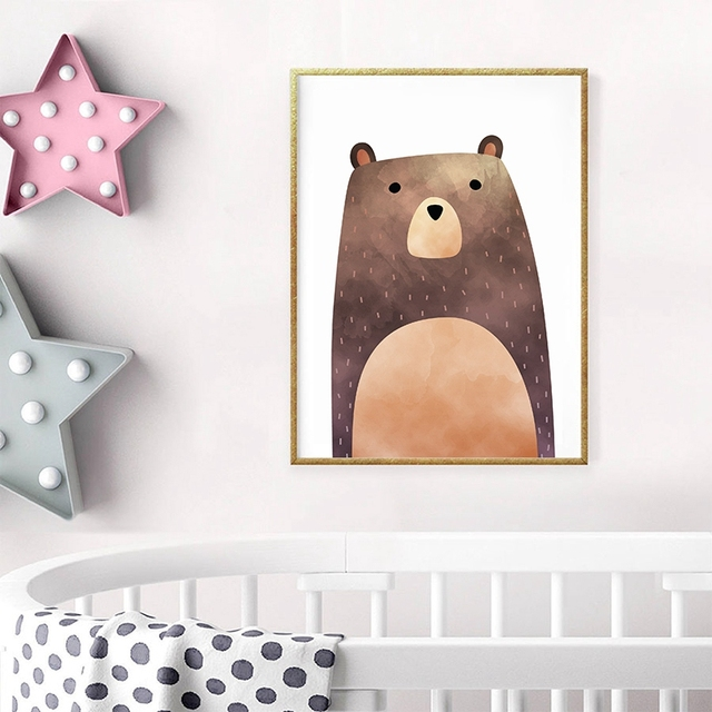 Nursery Animal Bear Canvas Print Wall Art Poster Watercolor Lovely Painting Cartoon Picture