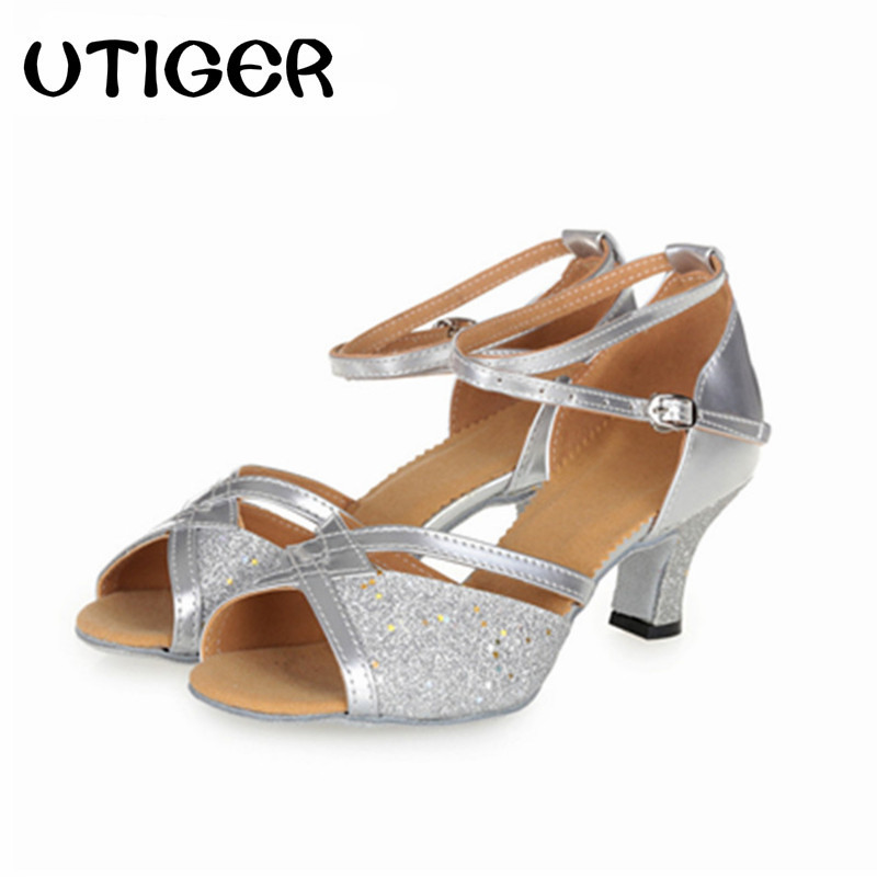 Size 34-41 Women Latin Ballroom Salsa Dancing Shoes Girl Adult Dance Shoes Heel 3CM 5CM 6CM Silver gold Color With Buckles WD154