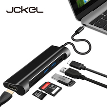 Jckel USB C 3.1 HUB to HDMI SD/TF Card Reader USB Type C Charging Port 2 USB 3.0 HUB Adapter for MacBook Pro Type C HUB цена