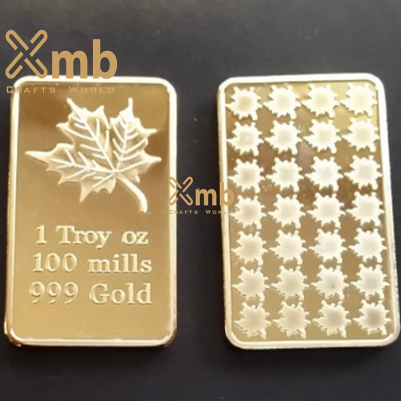 Canadian Maple Leaf One 1 Troy Ounce Oz 999 Gold Clad