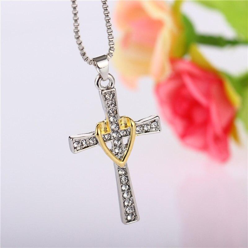 Broche bicolore amour jésus croix collier ornements colar bijoux choker bijoux femme anime chaîne boho groot TIF580 xiangl
