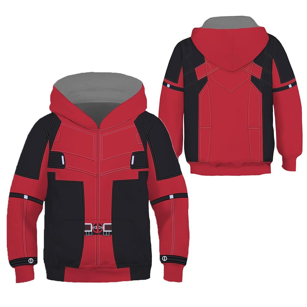 Superhero Cosplay Hoodies Deadpoll Spider Men Kids Children 3D Print Sweatshirt Long Sleeve Hooded Jacket Cute Boys Girls Outfit