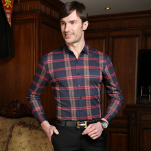 New stylish vogue striped males's enterprise informal lengthy sleeve mercerized cotton gown shirt