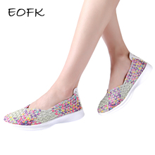 EOFK Summer Women Flat Shoes Woman Handmade Comfortable Shallow Women's Loafers Slip On Shoes Women's Shoes Casual Female Shoe