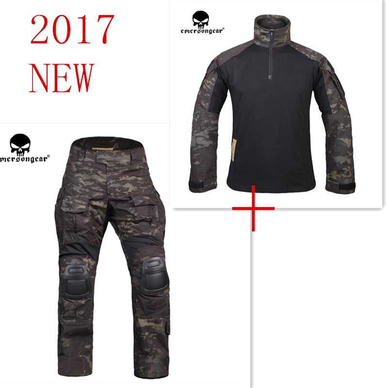 Multicam black Emerson G3 uniform shirt & Pants with knee pads BDU airsoft waregame Hunting Suits EM9256+7043