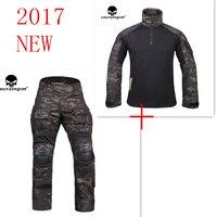 Multicam black Emerson G3 uniform shirt & Pants with knee pads BDU airsoft waregame Hunting Suits EM9256+7043