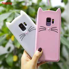 Cute Bearded Cat Silicone Soft Case For Samsung Galaxy S8 S9 Plus S6 S7 Edge J3 J5 J7 Pro 2016 2017 3D Ears TPU Cell Phone Cover(China)